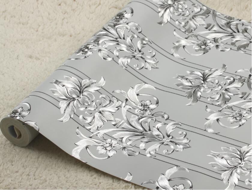 Online kaufen gro handel silber tapete aus china silber for Black and silver 3d wallpaper