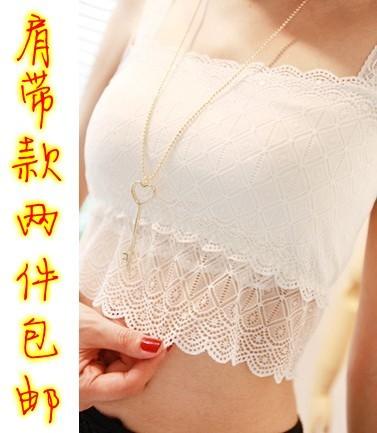 Free Shipping Full lace tanks crochet ruffle spaghetti strap style vest design tube top small vest basic