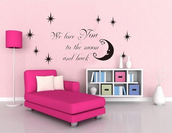Стикер стены на луну и обратно цитата звезды луны с для комната виниловые наклейки для стен домашнего декора