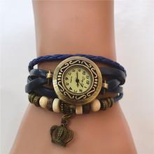 2015 nueva mujer de cuarzo Vintage ' s acecha corona colgante de cuero sintético reloj de pulsera reloj de pulsera relojes del reloj. envío gratis