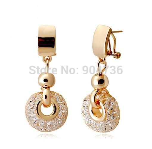 Luxury catring 18k Rose Gold Champagne Wire Crystal Female wedding Drop Earrings - VOROCO Jewellery Store store