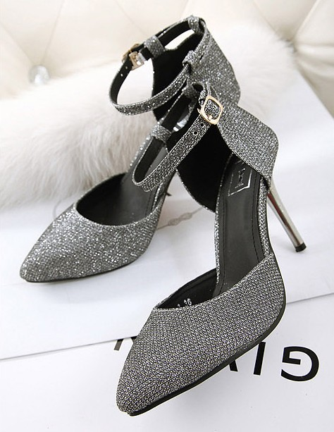 Free Shiping 2014 Newest Fashion Pumps Thin High Heels Sandals Sexy Buckle Pointed Toe Grey Silver Single Shoes(China (Mainland))