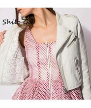 Leather jacket women 2016 new fashion White lace sheep skin leather coat women short motorcycle leather clothing outerwear(China (Mainland))