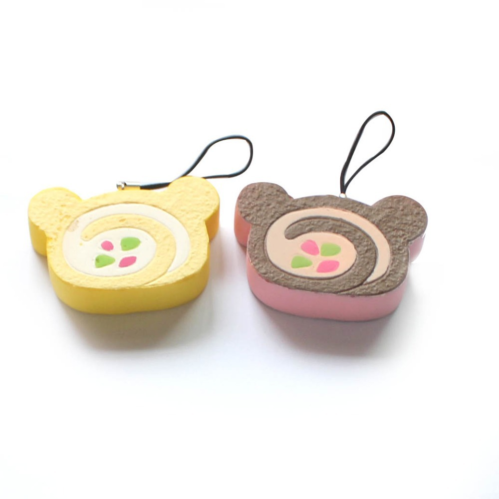 Multi-Color Rolling Swiss Roll Slice Rilakkuma Style Yellow Purple Color Random Free Shipping(China (Mainland))