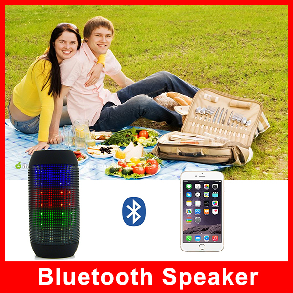 Free Shipping For IPod Mobile Phone 4.1 Computer Pulse Portable Bluetooth Streaming Mini Speaker with LED Light Show Mic(China (Mainland))