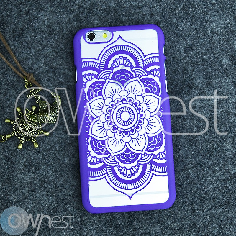 OWNEST Damask Vintage Flower Pattern PC Luxury Phone Case Back Cover for Apple IPhone 6 6S Cases