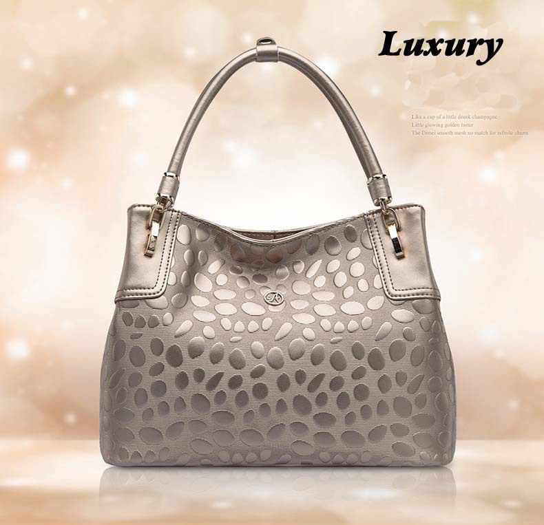 Free shipping fashion high quality genuine real leather embossed handbags tote bag tote(China (Mainland))