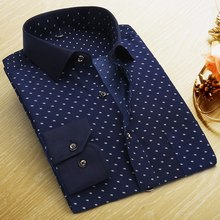 Summer New Mens Casual Shirts Fashion Long Sleeve Brand Printed Male Plus Size Formal Business Polka Dot Floral Men Dress Shirt(China (Mainland))