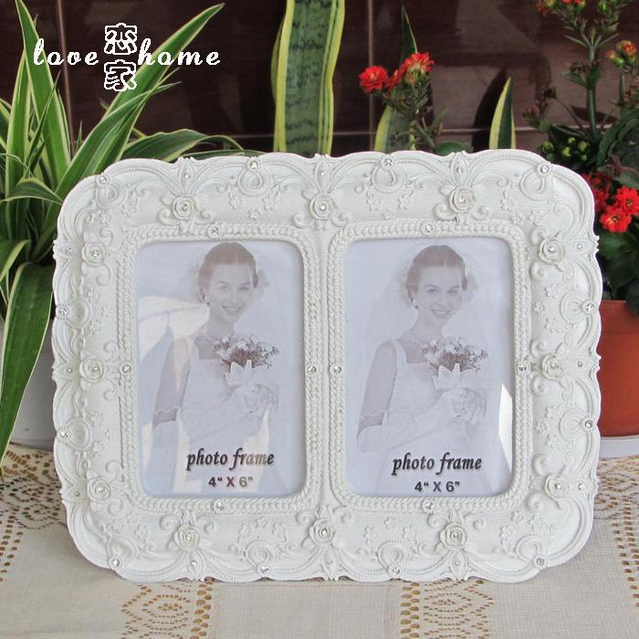 Fashion white lovers photo frame oval 5 double box resin photo frame home swing sets(China (Mainland))