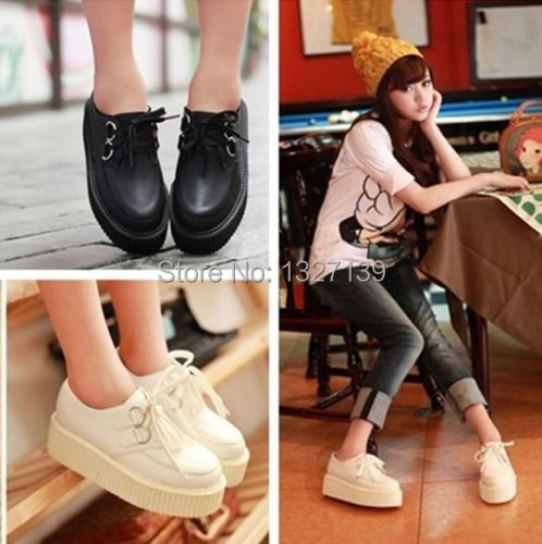 Гаджет  Fashion Women Ladies Lace Up Platform Flats Retro Goth Punk Creepers Shoes 4Size None Обувь