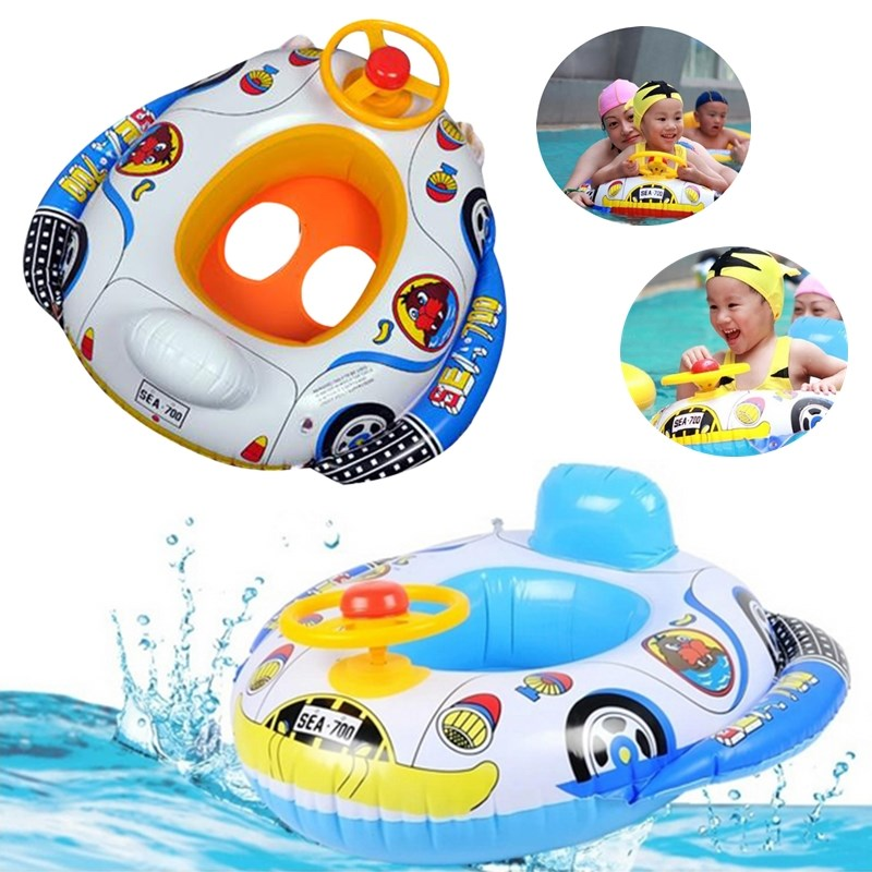 NEW Arrival Car and airship shape Wheel Horn Inflatable Kids Baby Pool Swim Ring Seat Float Boat Swimming Aid Portable(China (Mainland))