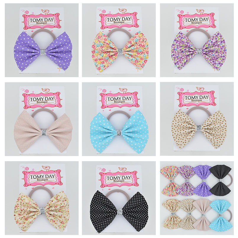 1pcs Fashion Colorful Hair Band Girl Hair Accessories Women Fabric big bow Hair Tie Polka Dot Elastic Hair Rope Ponytail Holde(China (Mainland))