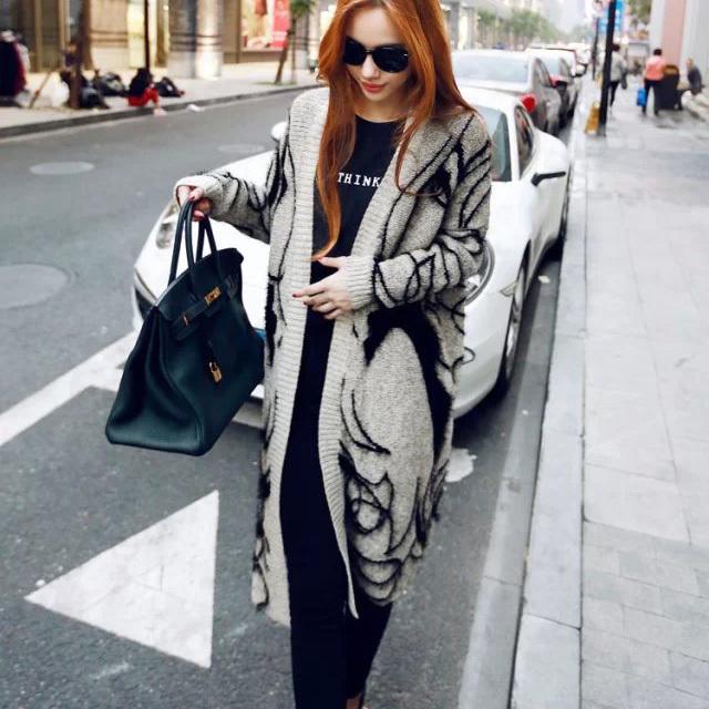 New Fashion Fall Winter Rabbit Hair Blend Knitted Cardigans Girl Printed Elegant Jumper Sweater Thicken Long Knitwear Coat EG61(China (Mainland))