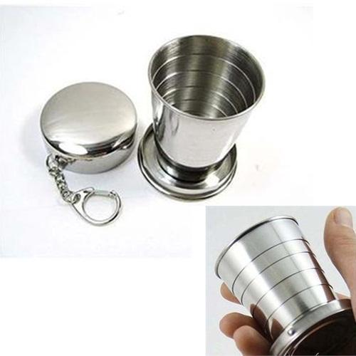 1PCS Stainless Steel Camping Folding Cup Traveling Outdoor Camping Hiking Mug Portable Collapsible Cup Bottel(China (Mainland))