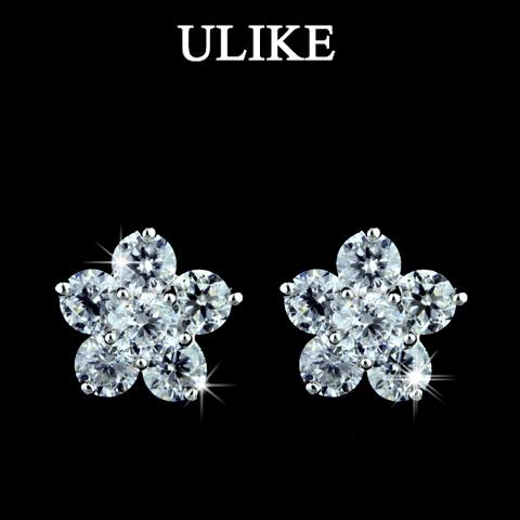 Fashion Design 18K Gold Plated High Quality Cubic Zircon Diamond Flower Shaped Stud Earrings for Women (Ulike UL-ER0043)(China (Mainland))