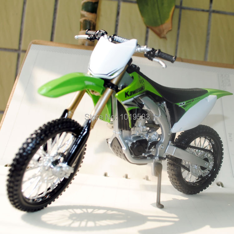 (6pcs/pack) Wholesale 1/12 Scale Diecast Motorcycle Model Toys Kawasaki KX 450F Max Dirt Bike Metal Motorbike Model Toy(China (Mainland))