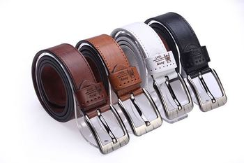 New arrival Men's Fashion Genuine Leather belts 4 colors male strap belt pin buckle cintos masculinos free shipping Q78