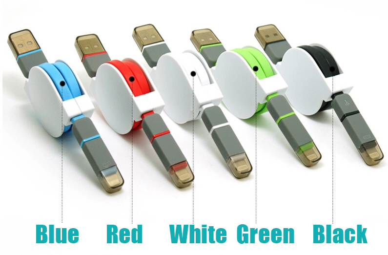 Retractable usb data cable Quality TPE Wire USB Connector USB Charge Sync Cable For iPhone5 5s 6 for Samsung S5 2 in 1(China (Mainland))