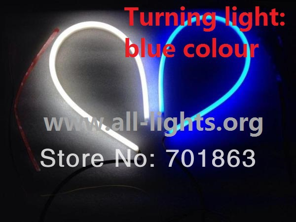 90CM White Daytime Running Lights Blue Turning Light Flexible Soft DRL LED 2pcs(China (Mainland))