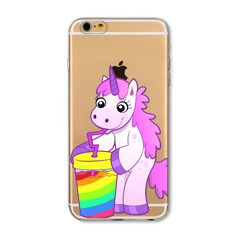 Cute Phone Case For Apple iPhone SE 5 5s 5C Fashion Lovely Farting Rainbow Fart Horse Baby Unicorn Cover Transparent Soft