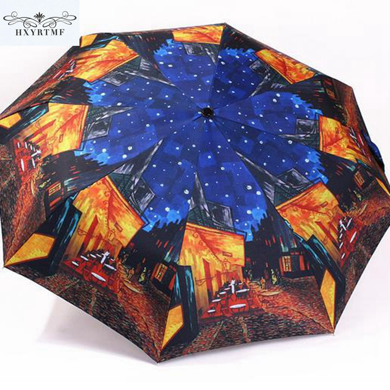 Vintage Oil Painting Women Umbrella Automatic Umbrella Windproof Umbrellas Unique Design Three-folding Sunny And Rainy Umbrella(China (Mainland))