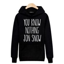 Hot Sale! YOU KNOW NOTHING JON SNOW Harajuku Sweatshirt Black for Street Wear Hoodies Men Luxury Brand Gray 3XL