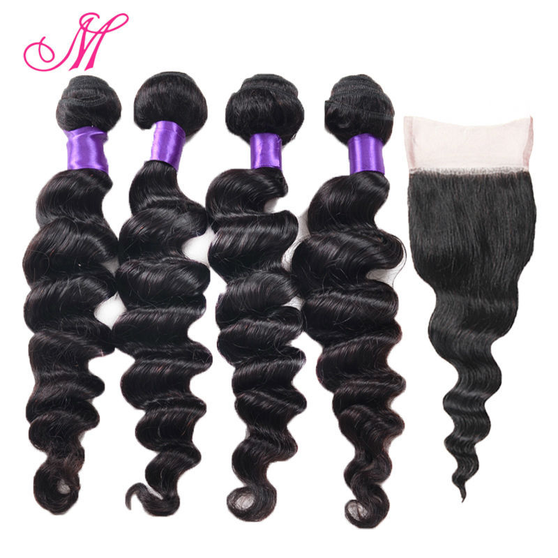 4 Bundles Of Peruvian Loose Wave With Closure Unprocessed Virgin Peruvian Hair With Closure HC Peruvian Virgin Hair With Closure