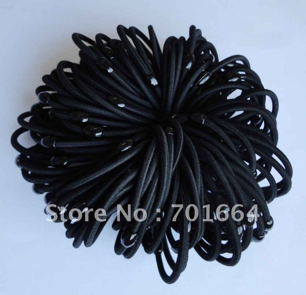 BARGAIN for BULK 4mm black elastic pony tail holders with black plastic beads connection(China (Mainland))