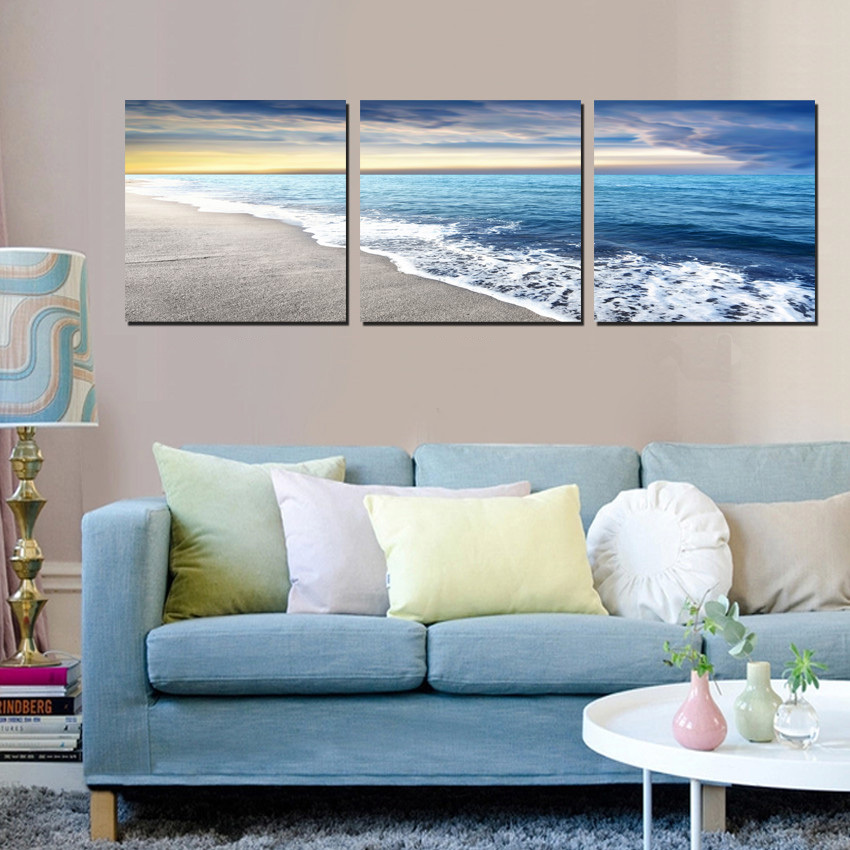 Http Www Aliexpress Com Item 3 Piece Home Decor Modern Art Painting Seascape Sea Wave Beach Decorative Wall Pictures For Living 32458877900 Html