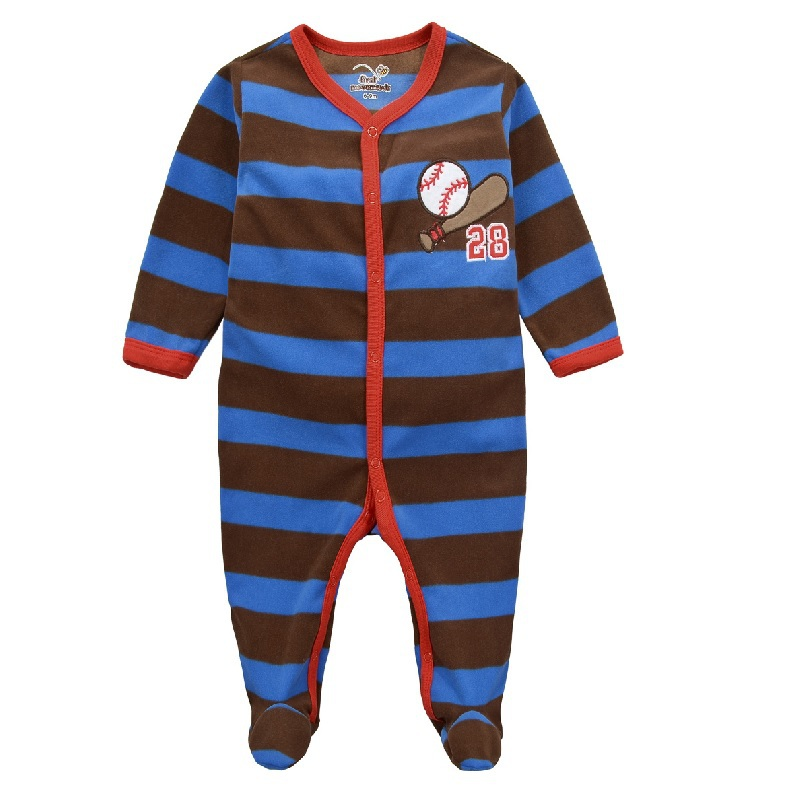 Fleece Baby Rompers Baseball Sport Baby Boys Jerseys Stripe romper with feet thick baby warmer clothes(China (Mainland))