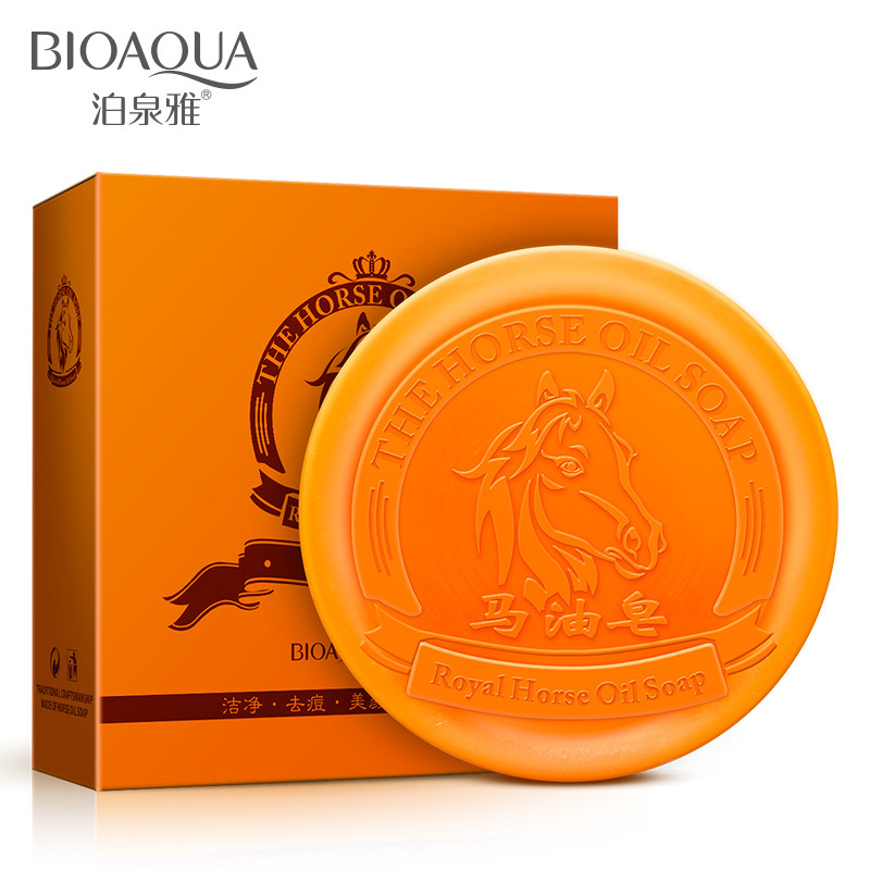 BIOAQUA Horse oil soap clean oil Moisturizing Whitening Oil Control Acne pores cured black soap bath soap body care and cleaning(China (Mainland))
