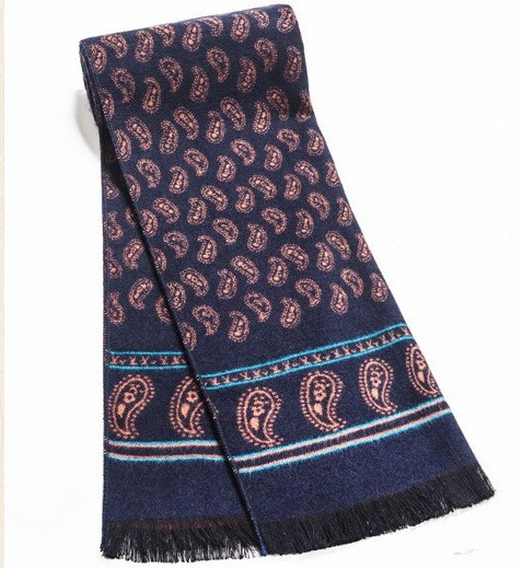 Luxury brand Men winter scarf real cashmere Scarf Navy color with orange flower pattern scarves for christmas gift(China (Mainland))