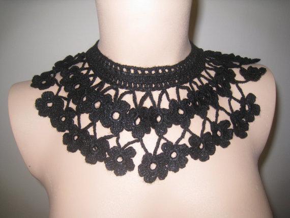 vintage Crochet lace Collar Choker black Flower chain Necklace Wedding necklace, party accessories 2 pcs/lot