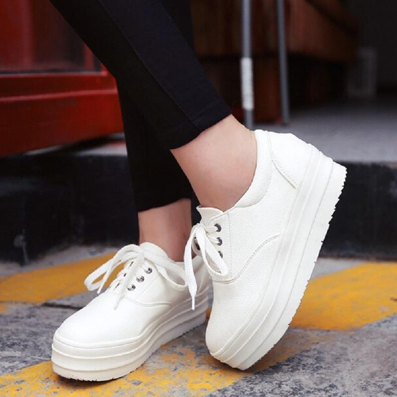 2Colors 33-43 Size New 2015 Low Platform Women Canvas Shoes Casual Women Sneakers Lace Up Female Shoes Flat Heel Women Shoes<br><br>Aliexpress