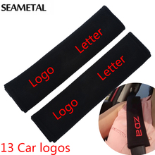 Car Seat Belt Cover Shoulder Pads Cotton Embroidered For Kia Hyundai VW Volkswagen Mazda Toyota Interior Decoration Accessories(China (Mainland))