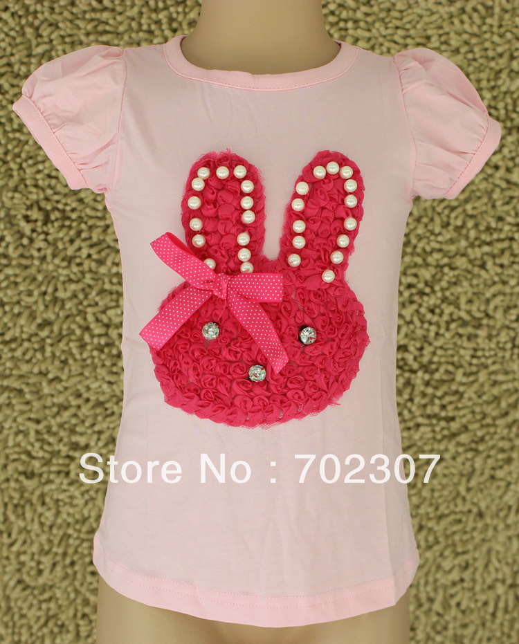 rabbit pattern girls summer pink t shirt  5pcs/lot   QS25<br><br>Aliexpress