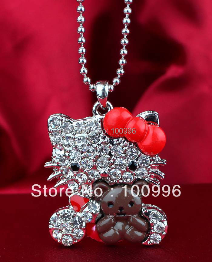 Free Shipping 2015 New Arrival Bear Paiting Zinc Alloy Rhinestone Hello Kitty Women Pendant Necklace For Women or Girls' Gift(China (Mainland))