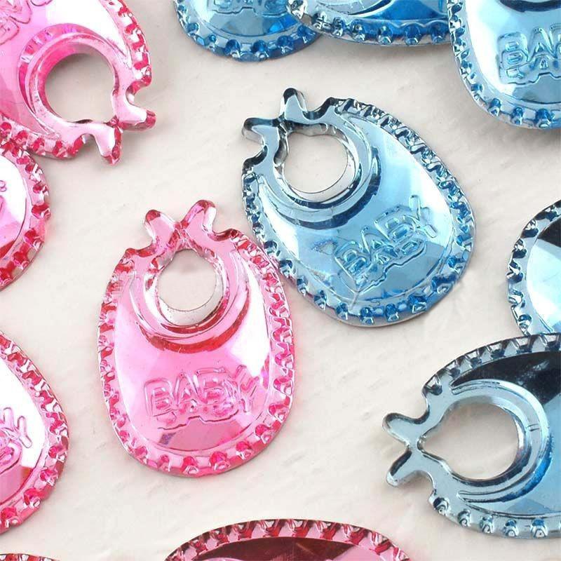 Free shipping(1000 pcs/lot) Acrylic baby bid pink/blue color flat baby shower confetti rhinestone favor 1*2cm(China (Mainland))