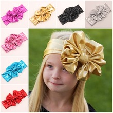 Baby Girls Head wraps Metallic Messy Bow Floppy Big Bow Turban Headband for Newborn Hair Baby