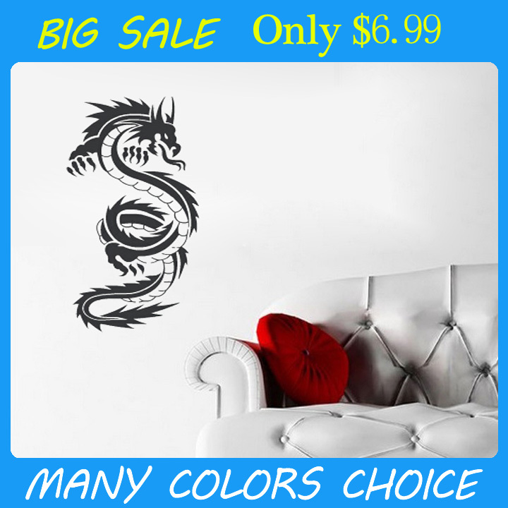 Dragon wall decals vinyl stickers home decor living room decoration wallpaper bedroom wall pictures murals vinyl art quote(China (Mainland))