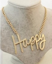 N325-N328 The Wind Major Suit Matte Gold HAPPY BOSS COOL SEXY LOVE English Letter Metal Exaggerated Necklace #(China (Mainland))