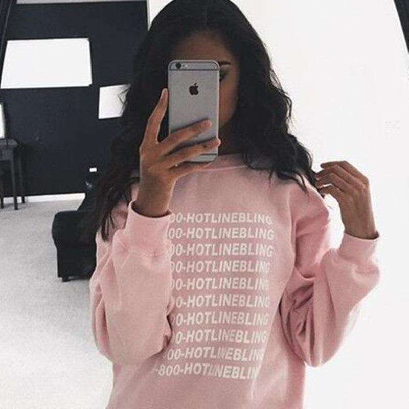 2016 Autumn Winter Casual O Neck Bling Hotline Letter Print Women 1800 Hotline Bling Sweatshirts Drake Hotline Hoodie Sweatshirt(China (Mainland))