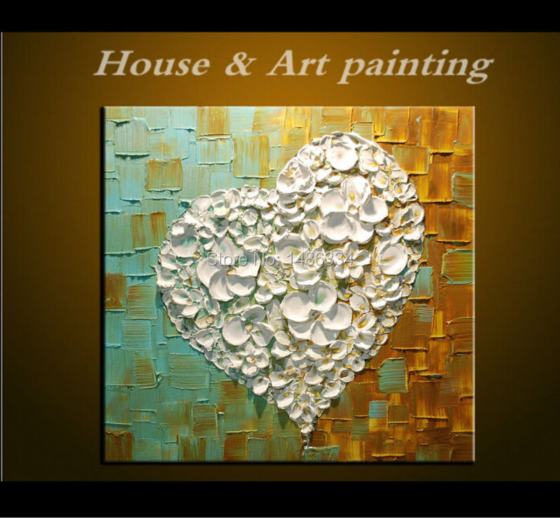 handmade Modern Canvas Painting 3D Heart Shape white Flowers Oil Painting Hotel Office Room Home Decor Wall Art Hang painting(China (Mainland))