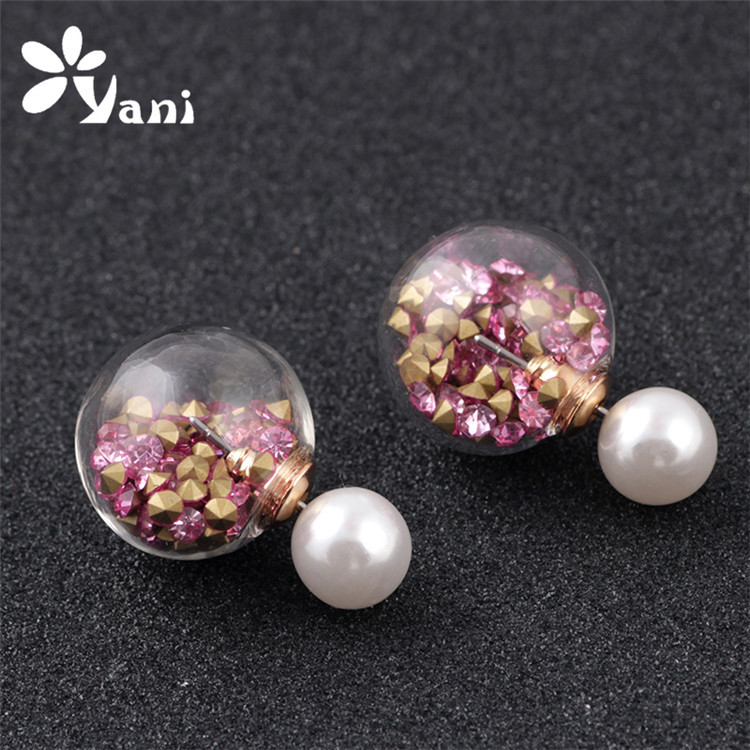 5 Pair!!! Cheapest Crystal pearl Stud Earrings16mm Fashion Jewelry Earrings Clear Glass Ball Bubbles Earring(China (Mainland))