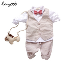 Buy 3PCS Baby Boy Clothing Suits Solid White Shirt +Vest +Striped pants Casual Children party costumes kids Spring Autumn Sets 088F for $21.49 in AliExpress store