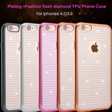 2016 New Plating Fashion flash diamond Soft TPU Back Cover Case For Apple Iphone 6 6s Plus Clear For Iphone6 Free shipping