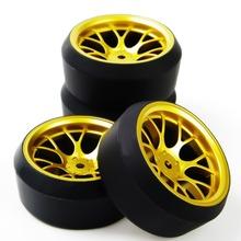 4Pcs/Set 12 mm Hex RC Drift Tires & Wheel Rim Fit HSP HPI 1:10 On-Road Car DHG+PP0370 Model Car Toys Parts Free Shipping E