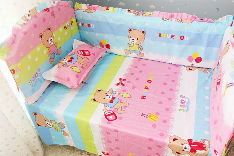 Promotion! 6PCS Baby Cot Bedding Crib Set 100% Cotton Kids Crib Bumper Baby Cot Sets ,include(bumper+sheet+pillow cover)<br><br>Aliexpress