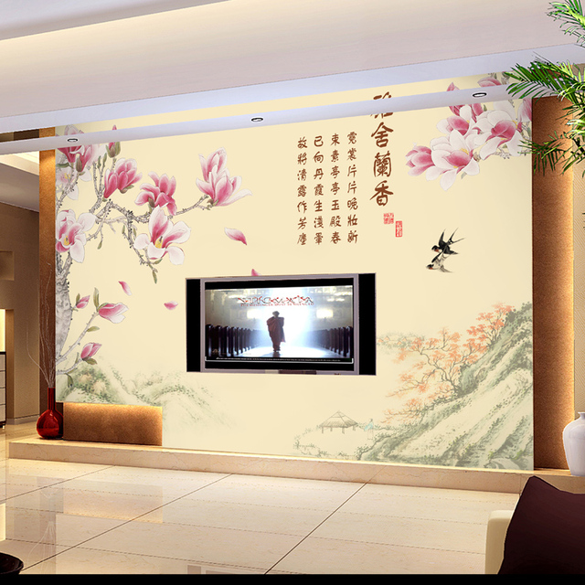 Estilo chin s moderno sof tv papel de parede mural for Papel tapiz estilo mural