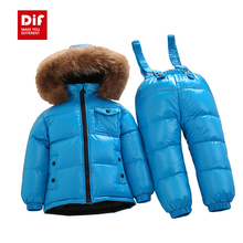 2015 Winter New Natural Fur White Duck Down Children's Sets Boys Girls Thicken Warm Jumpsuit Kids Clothing Set Down Jacket+Pant(China (Mainland))